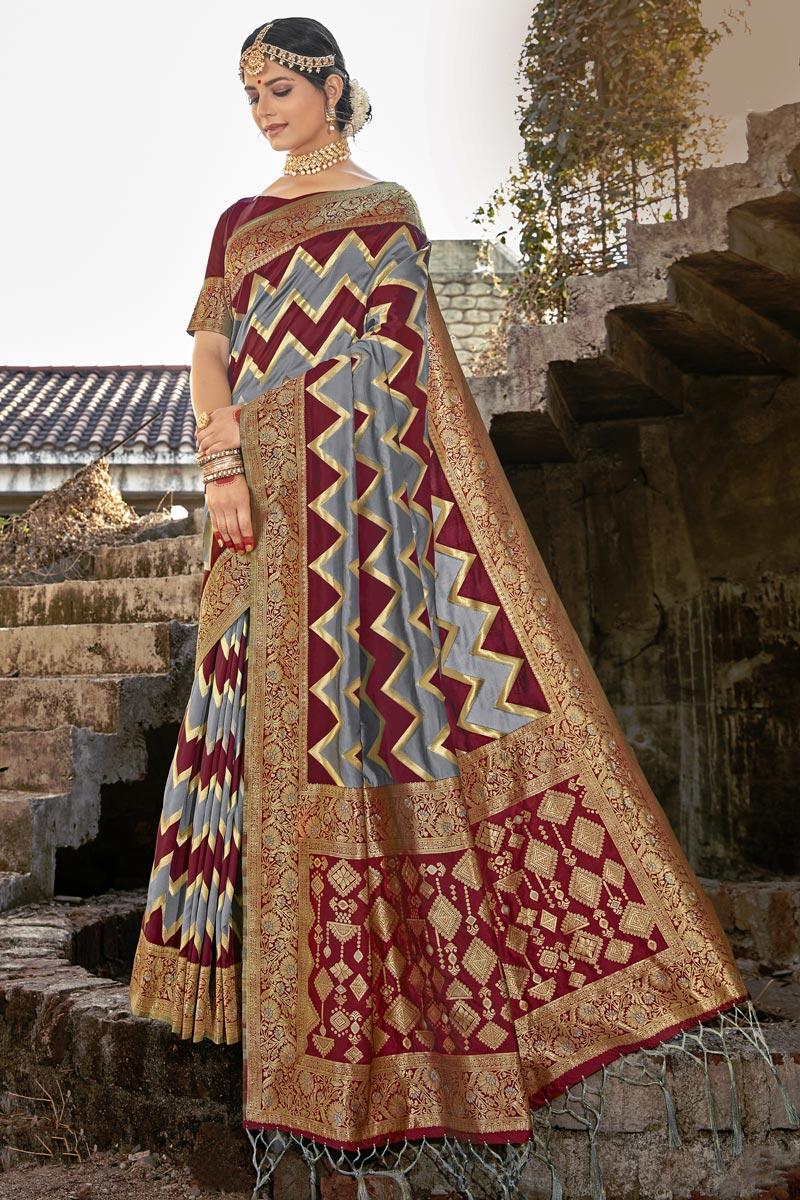 Party Wear Art Silk Weaving Work Saree In Grey Color