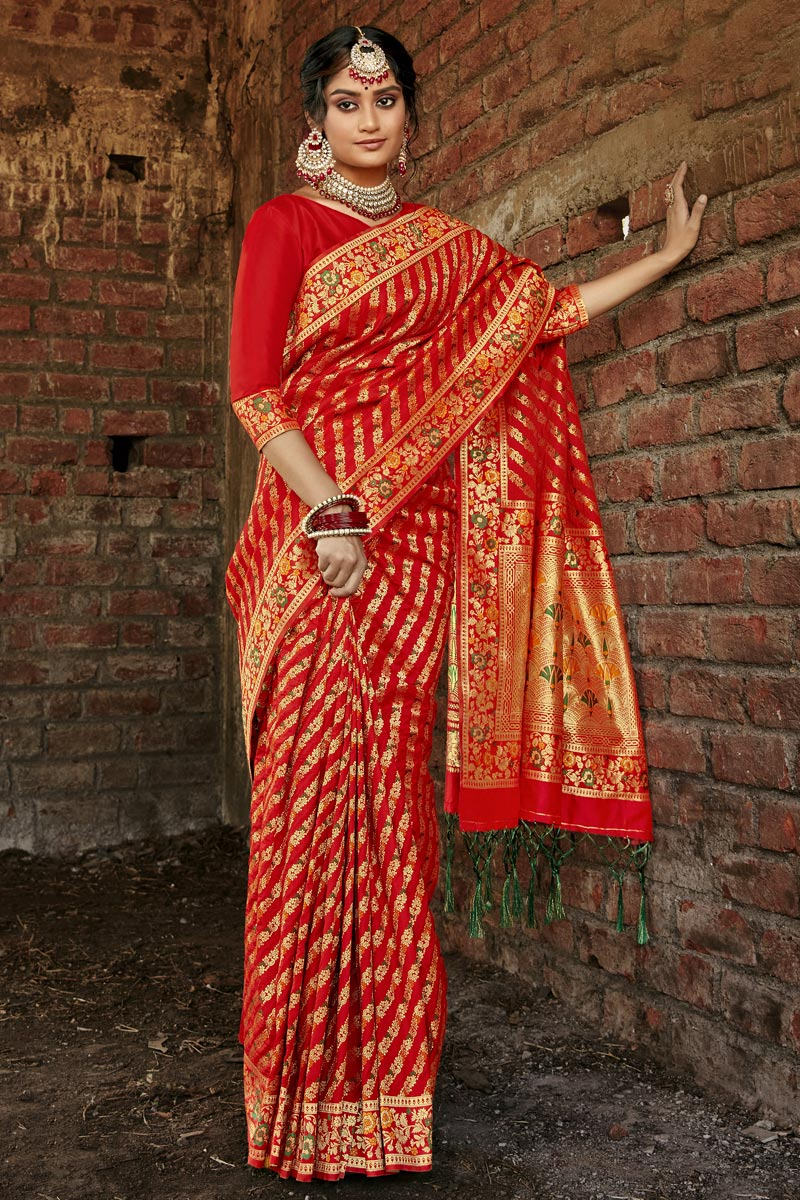 Art Silk Party Wear Red Color Weaving Work Saree