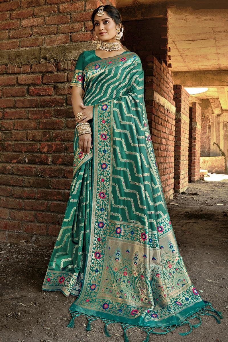 Party Wear Teal Color Art Silk Weaving Work Saree