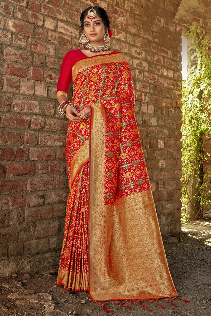 Party Wear Art Silk Weaving Work Saree In Red Color
