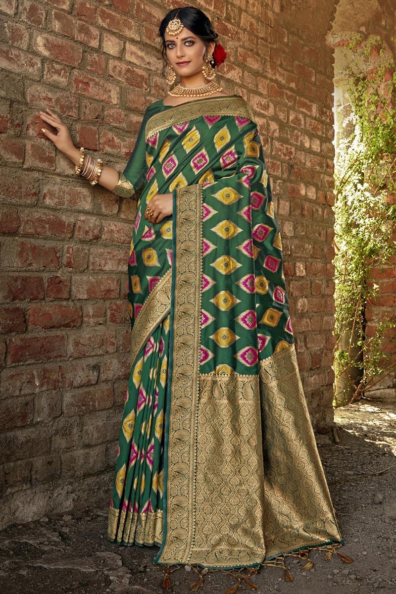 Dark Green Color Art Silk Fabric Weaving Work Fancy Saree