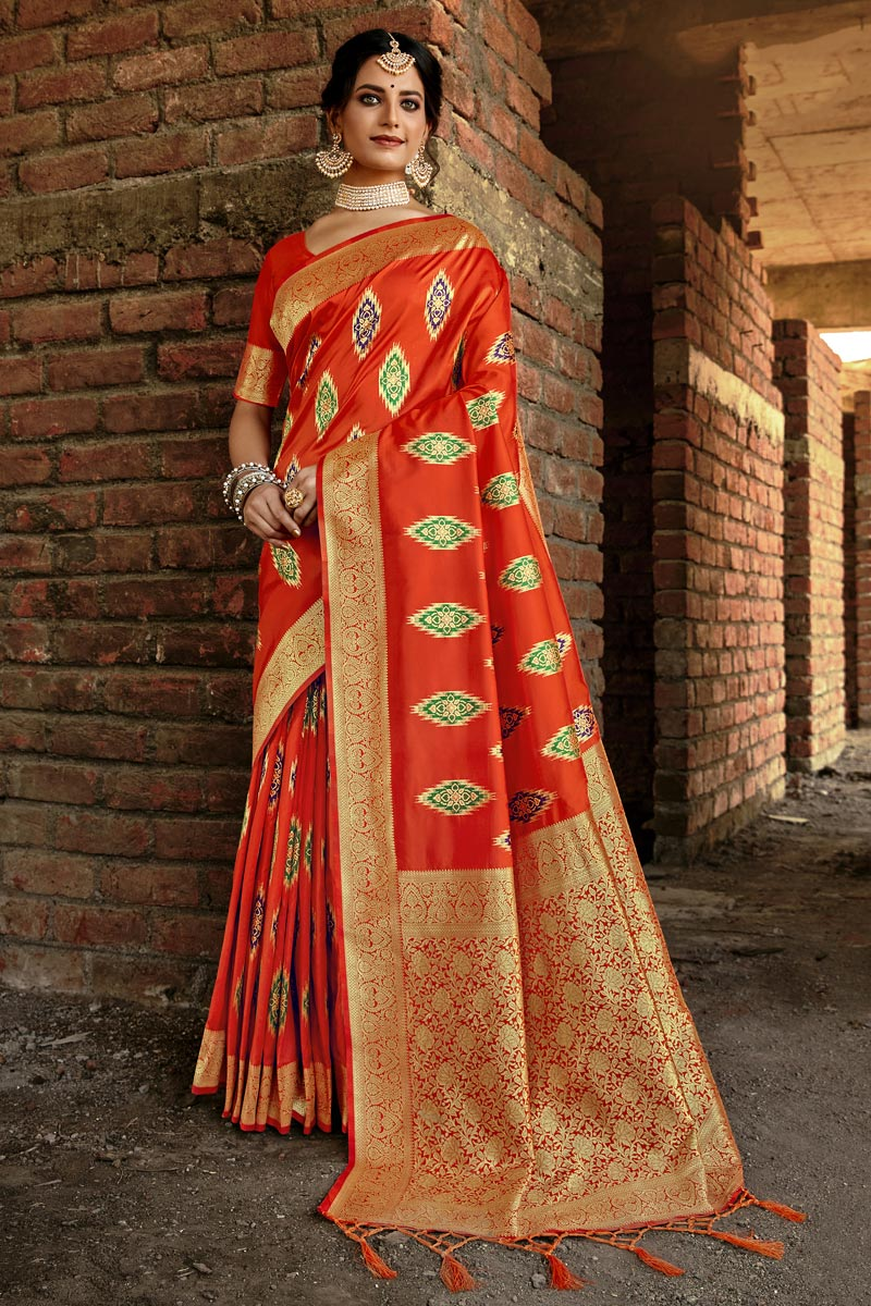 Art Silk Party Wear Orange Color Weaving Work Saree