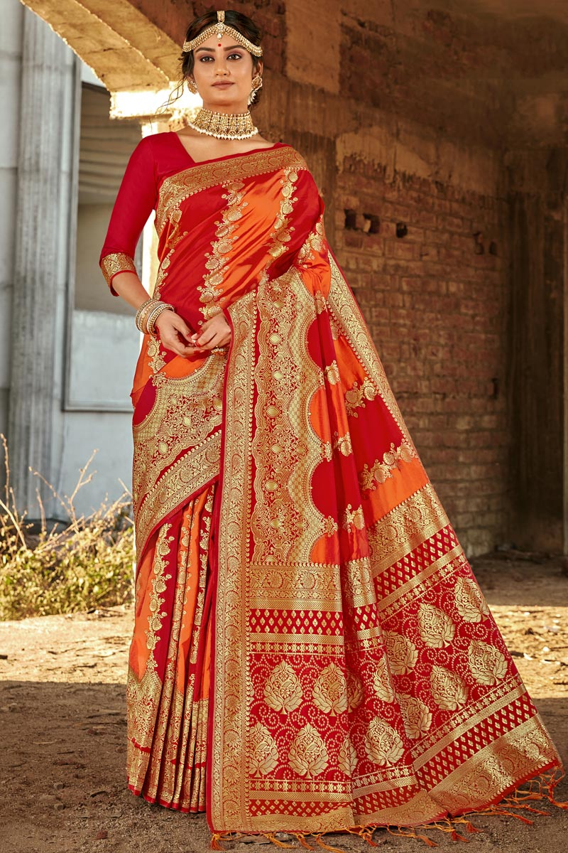Weaving Work Art Silk Fabric Fancy Saree In Red Color