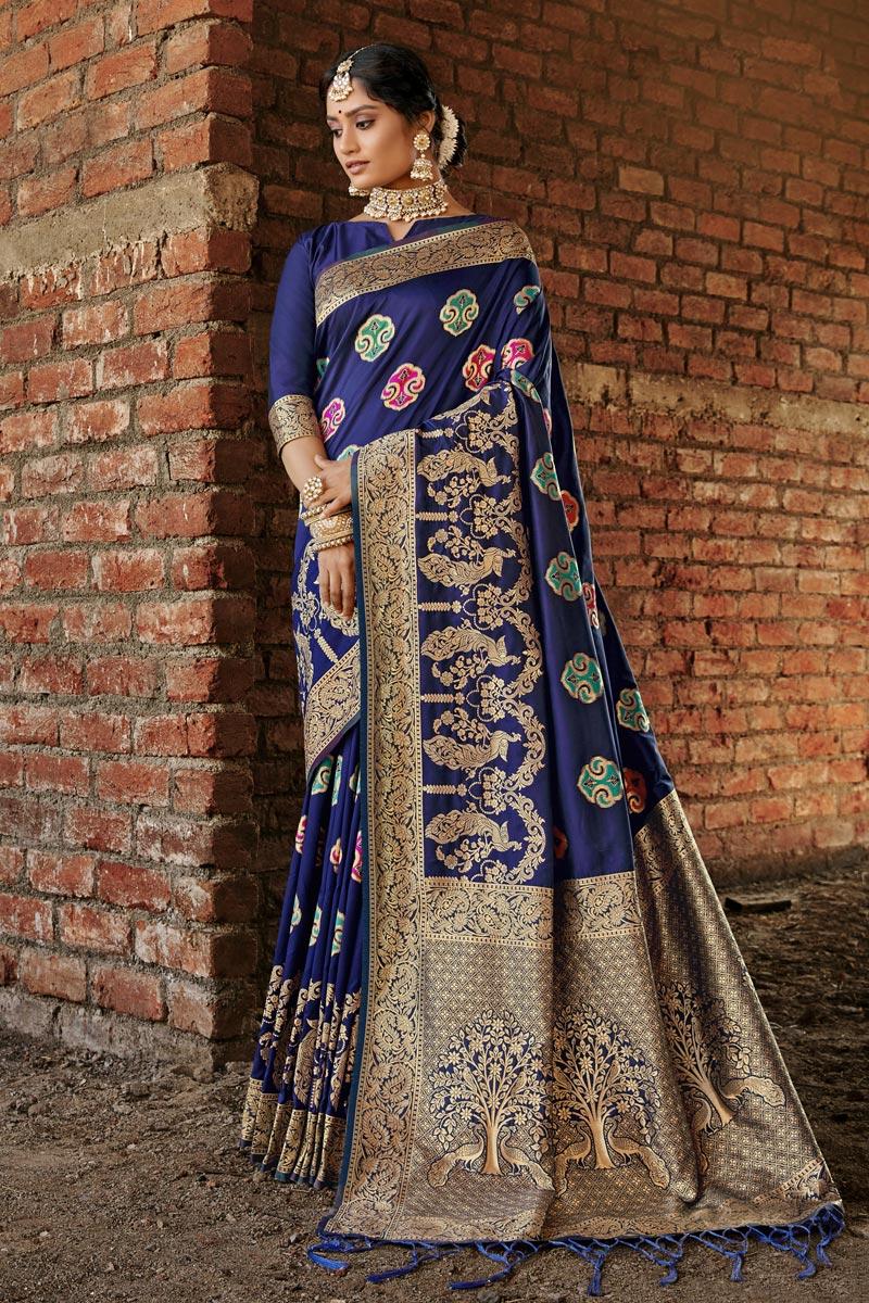 Navy Blue Color Festive Wear Weaving Work Saree In Art Silk Fabric
