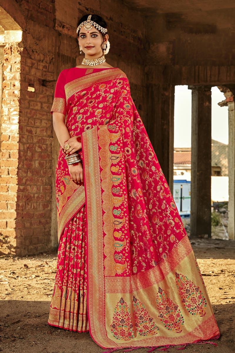 Fancy Art Silk Fabric Rani Color Party Wear Weaving Work Saree