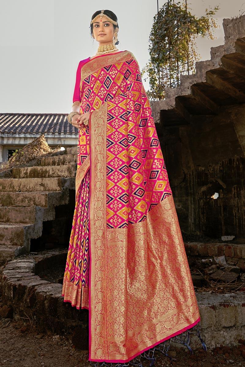 Sangeet Wear Fancy Weaving Work Saree In Art Silk Fabric Pink Color