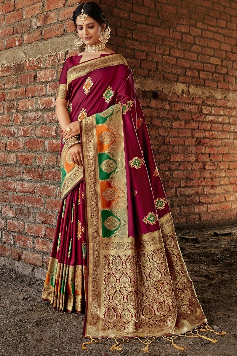 Fancy Art Silk Fabric Maroon Color Weaving Work Wedding Wear Saree