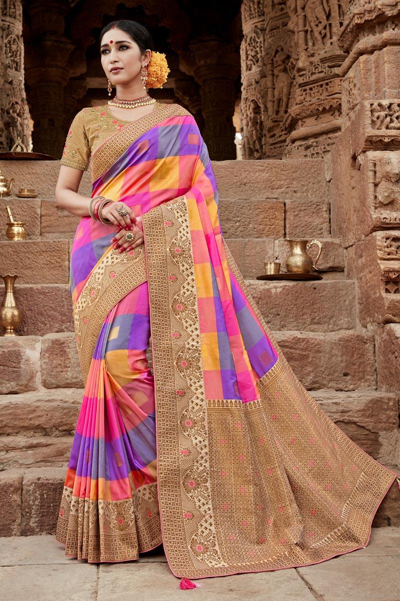 Multi Color Art Silk Puja Wear Fancy Weaving Work Saree
