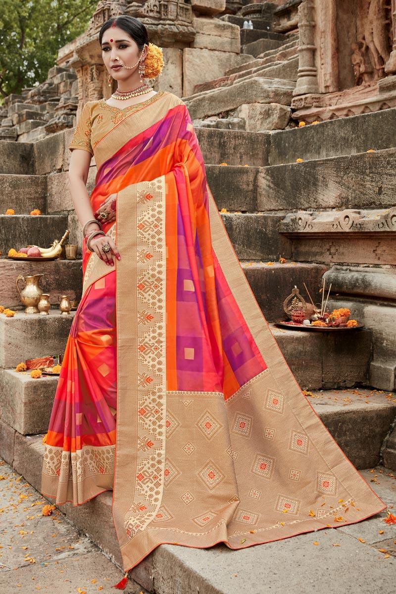 Puja Wear Art Silk Fancy Weaving Work Saree In Multi Color
