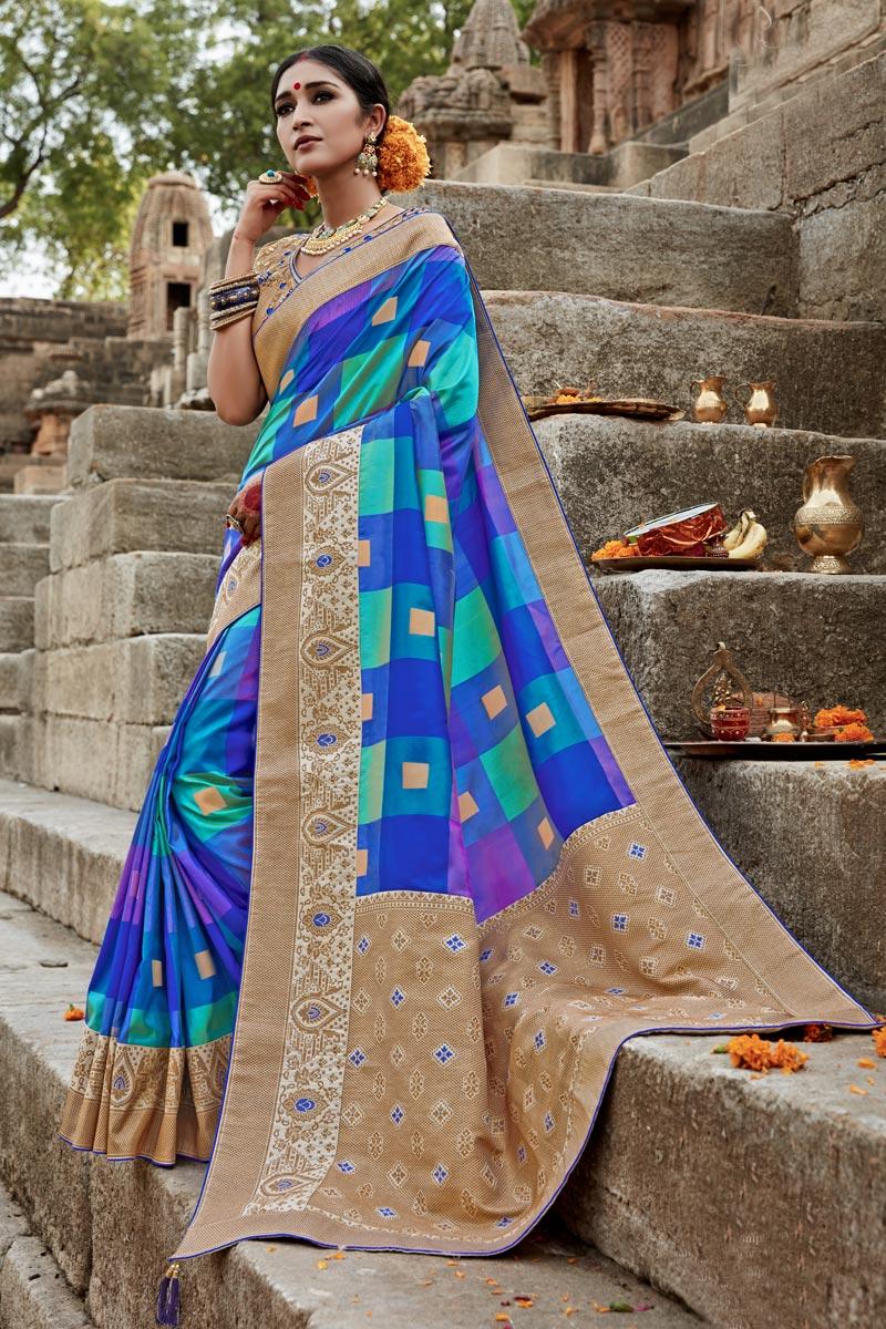 Art Silk Puja Wear Fancy Weaving Work Multi Color Saree