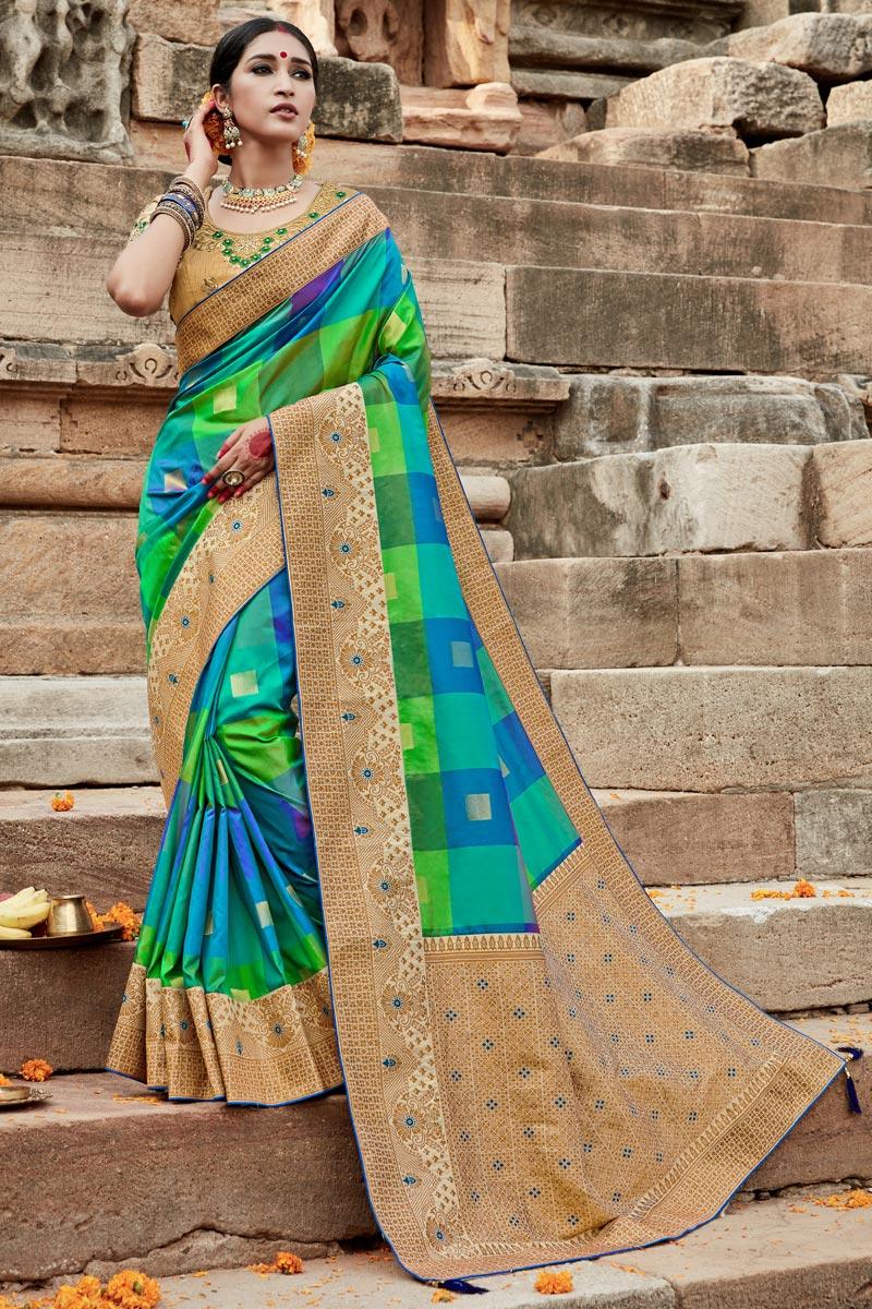 Puja Wear Art Silk Fancy Multi Color Weaving Work Saree