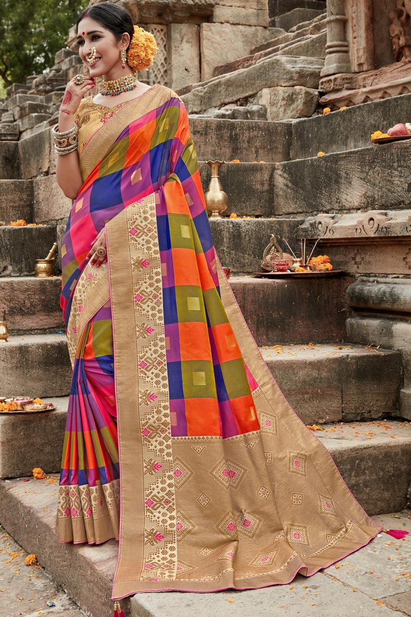 Multi Color Puja Wear Fancy Weaving Work Saree In Art Silk