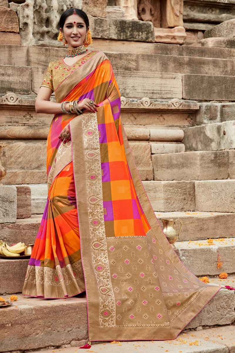 Art Silk Puja Wear Multi Color Weaving Work Fancy Saree