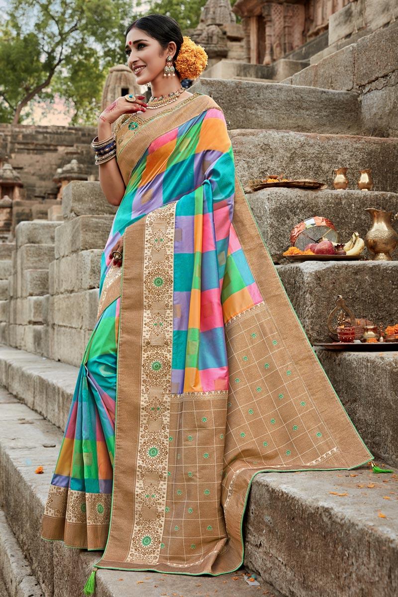Puja Wear Fancy Weaving Work Saree In Multi Color Art Silk