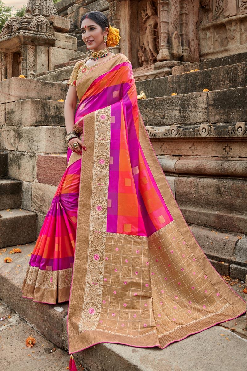 Multi Color Puja Wear Art Silk Fancy Weaving Work Saree