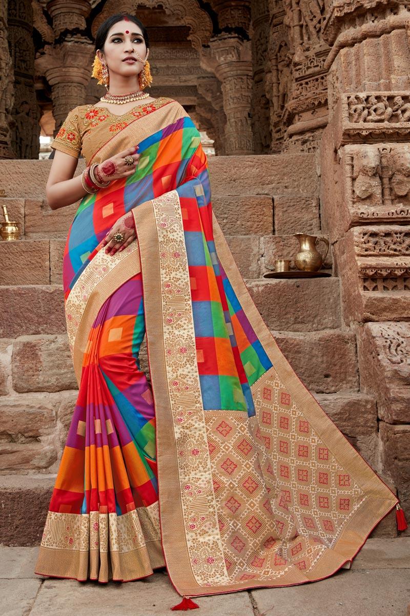 Puja Wear Multi Color Art Silk Fancy Weaving Work Saree