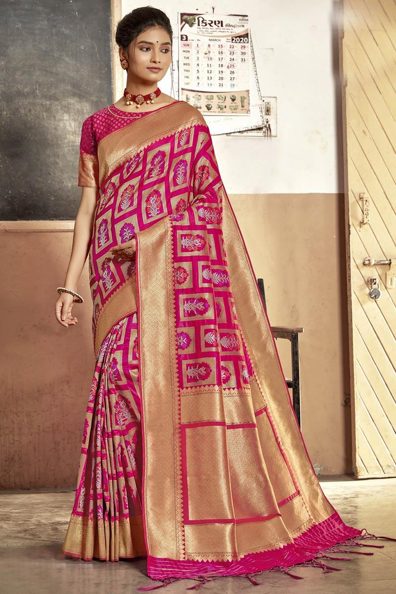 Rani Color Art Silk Fabric Fancy Sangeet Wear Saree