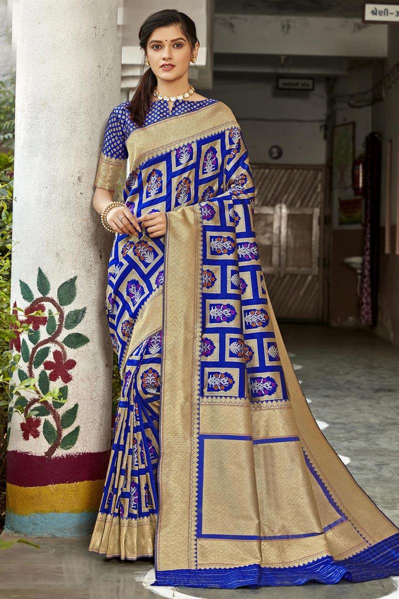 Sangeet Wear Blue Color Art Silk Fabric Designer Saree