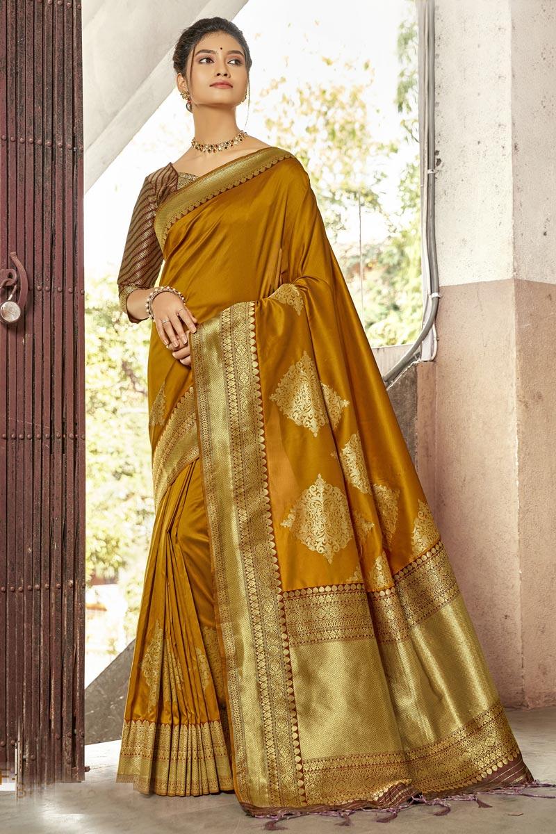 Mustard Color Stylish Reception Wear Saree In Art Silk Fabric
