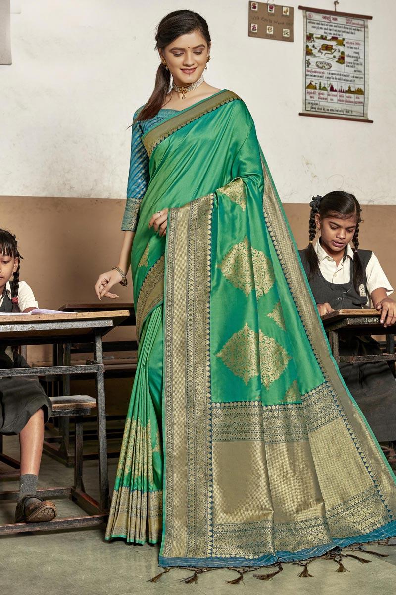 Trendy Sangeet Wear Saree In Sea Green Color Art Silk Fabric