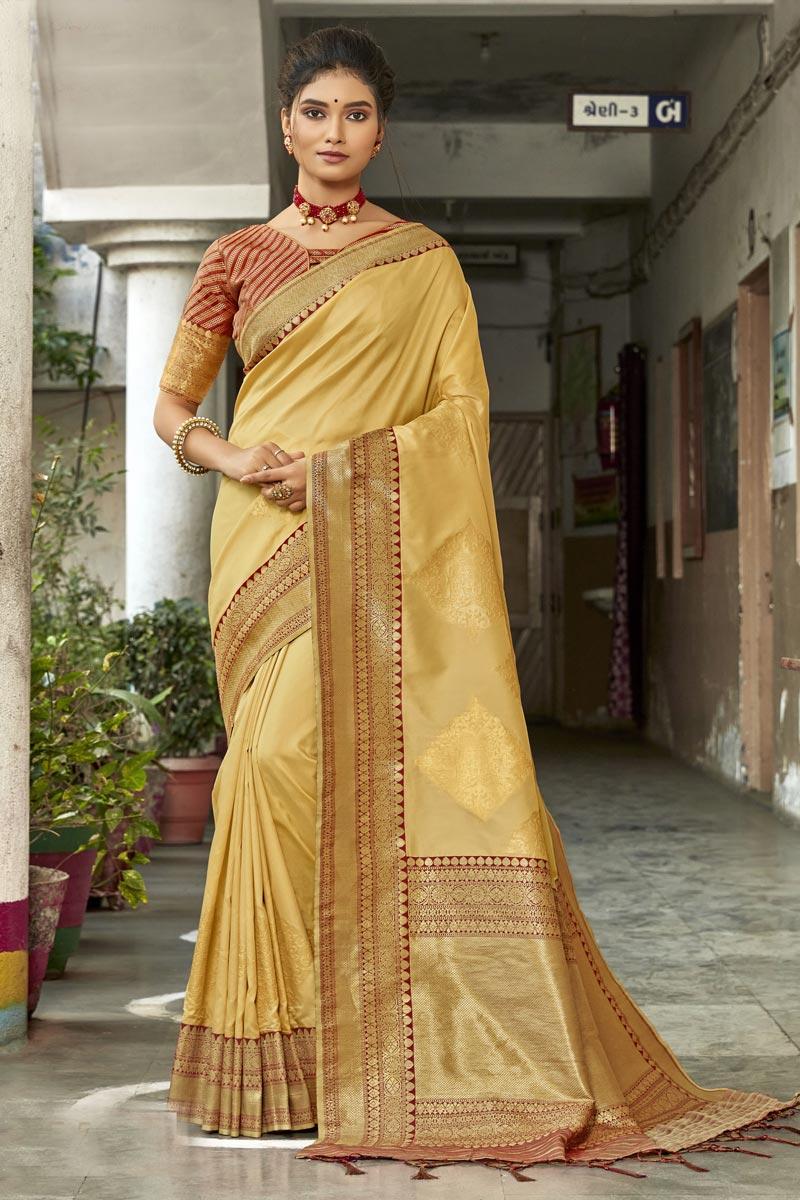 Yellow Art Silk Fabric Designer Wedding Wear Saree