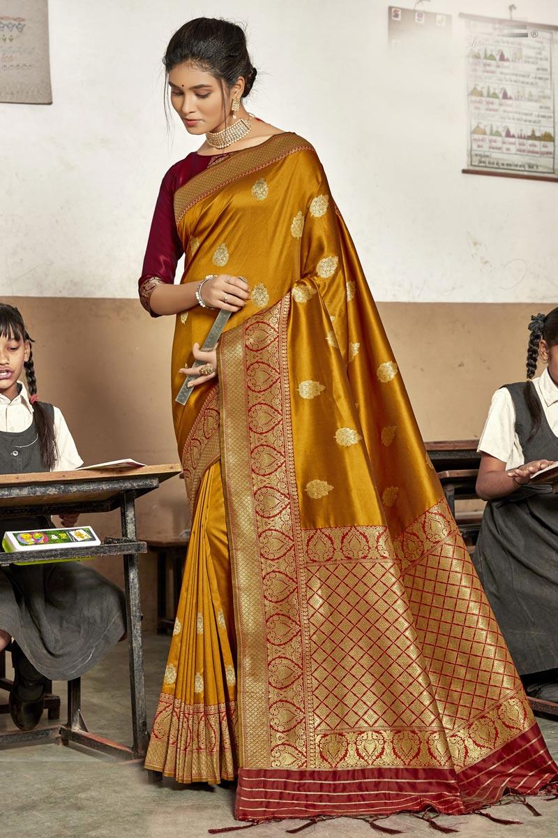 Mustard Color Art Silk Fancy Reception Wear Saree