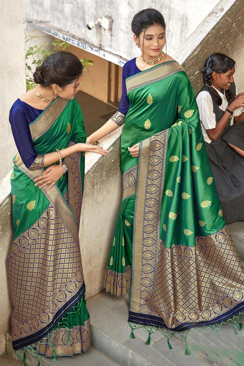 Green Art Silk Stylish Sangeet Wear Saree
