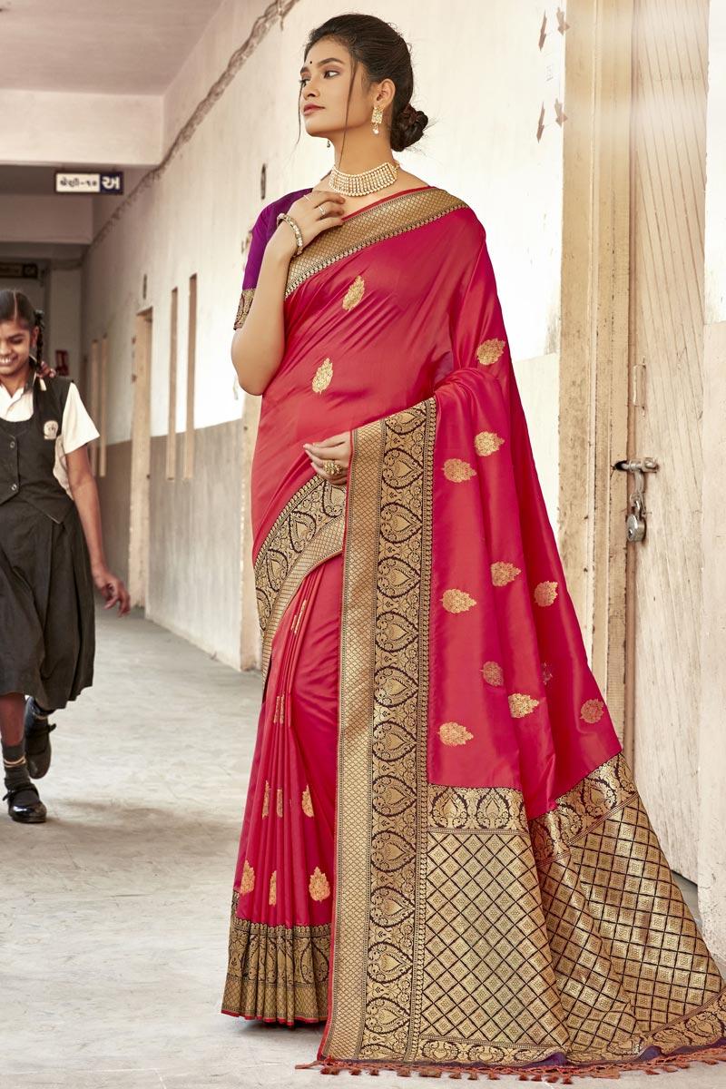 Art Silk Fabric Red Color Trendy Wedding Wear Saree