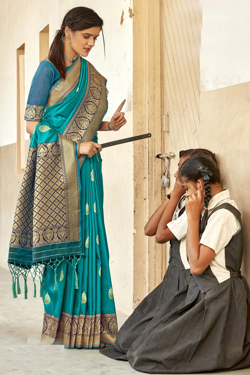 Designer Cyan Color Art Silk Fabric Reception Wear Saree