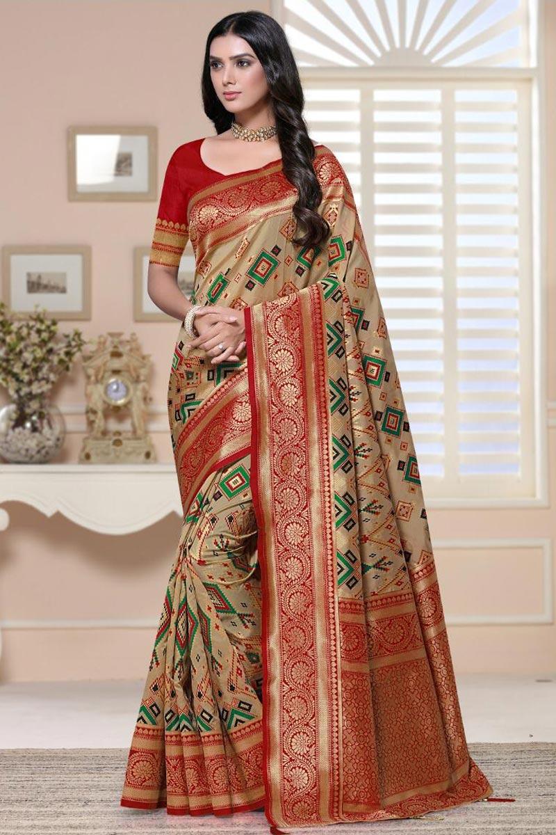 Beige Color Sangeet Wear Art Silk Fabric Fancy Weaving Work Saree