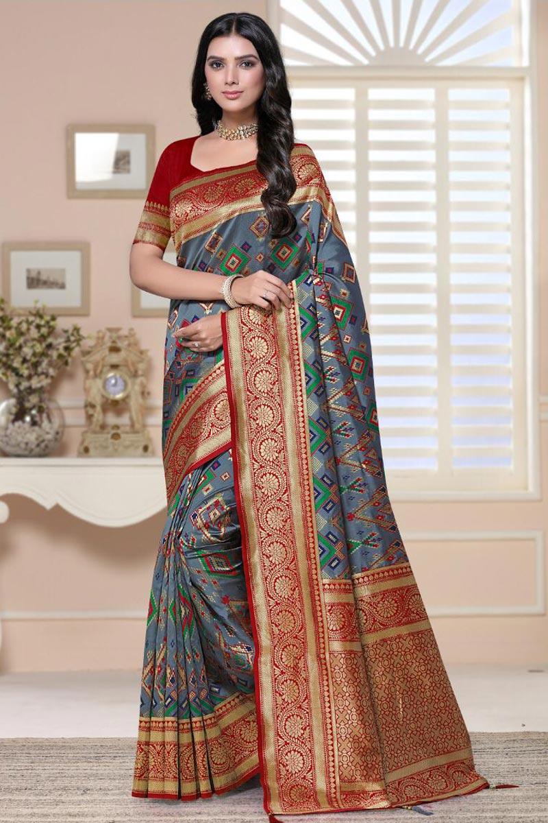 Fancy Sangeet Wear Grey Color Weaving Work Saree In Art Silk Fabric