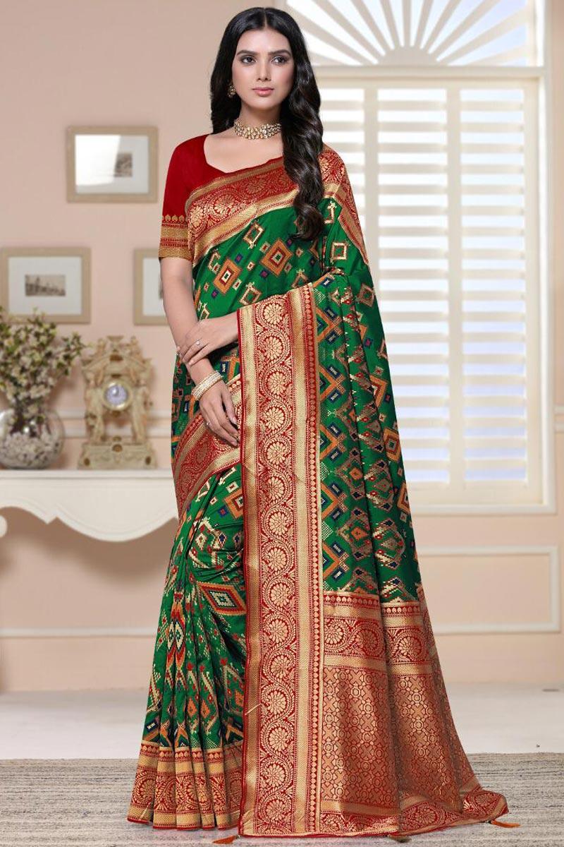 Sangeet Wear Green Color Fancy Art Silk Fabric Weaving Work Saree