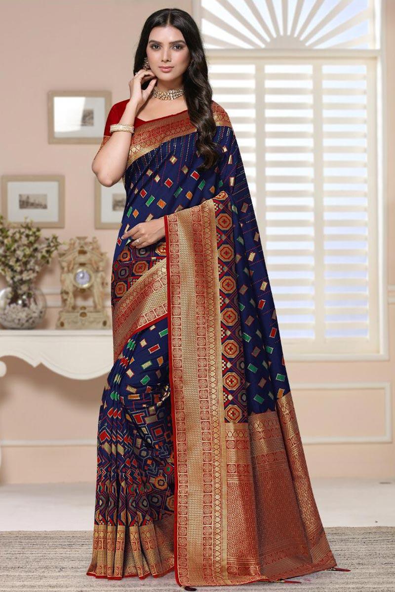 Art Silk Fabric Fancy Sangeet Wear Navy Blue Color Weaving Work Saree