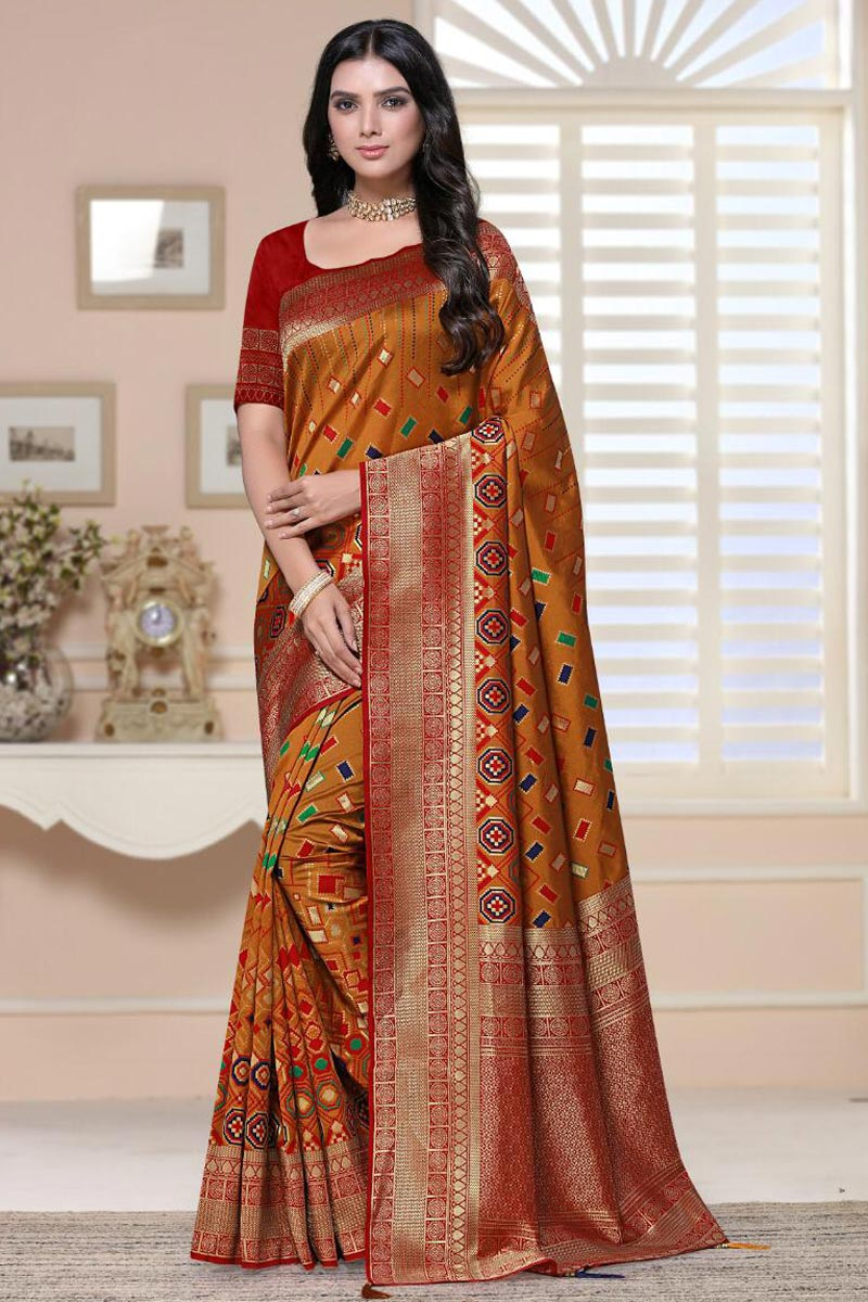 Sangeet Wear Art Silk Fabric Fancy Weaving Work Saree In Orange Color