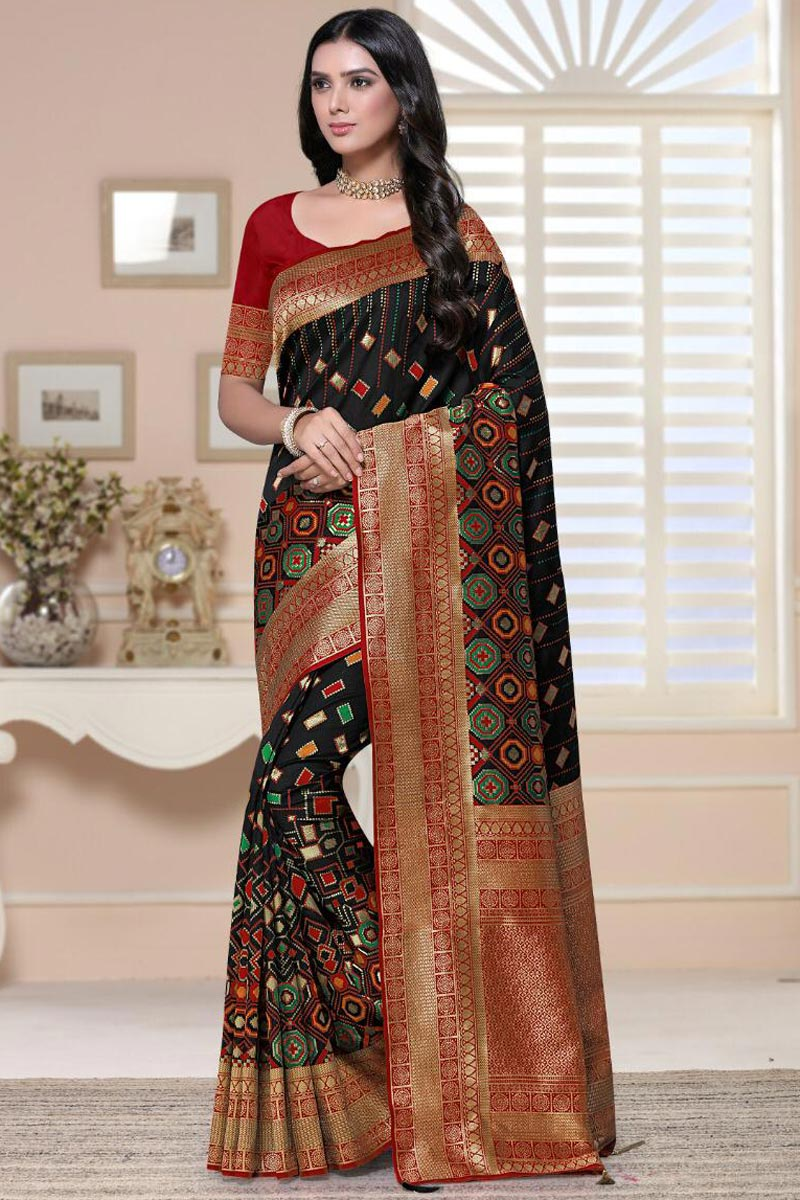 Art Silk Fabric Fancy Sangeet Wear Black Color Weaving Work Saree