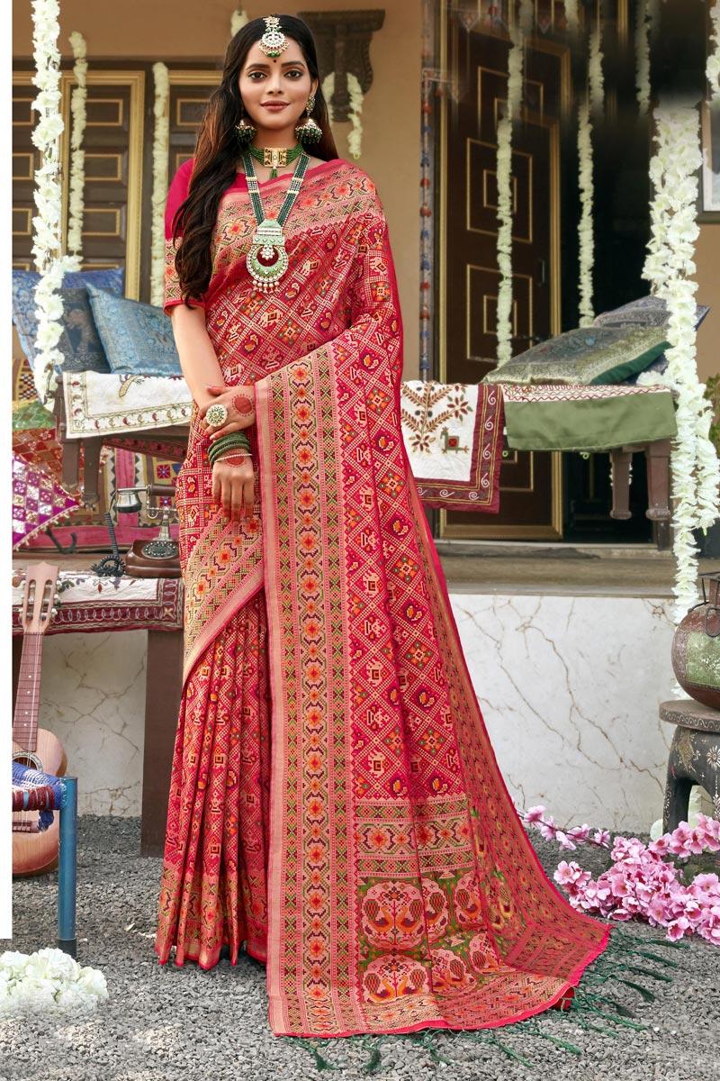 Trendy Sangeet Wear Patola Style Saree In Rani Color Banarasi Silk Fabric