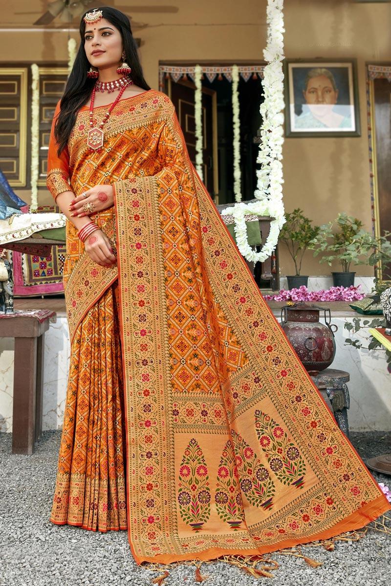 Yellow Banarasi Silk Fabric Designer Wedding Wear Patola Style Saree