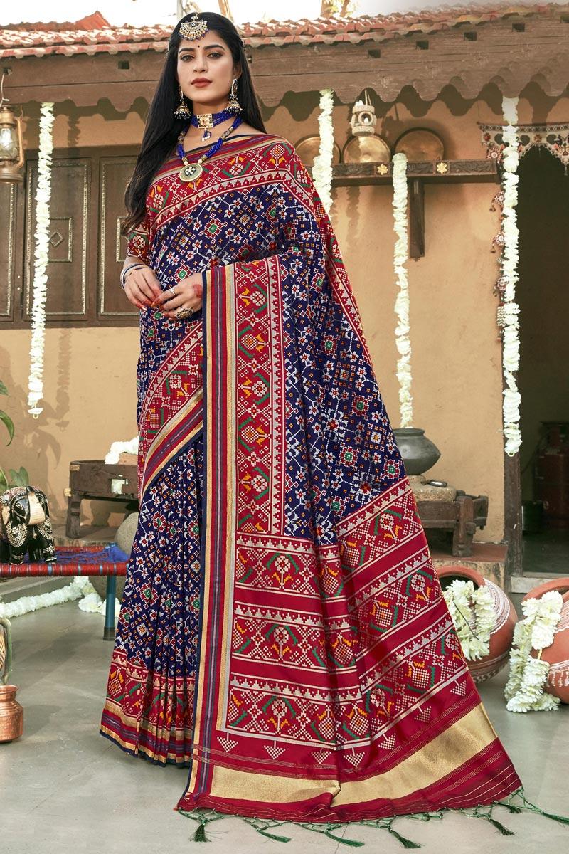 Navy Blue Banarasi Silk Stylish Sangeet Wear Patola Style Saree