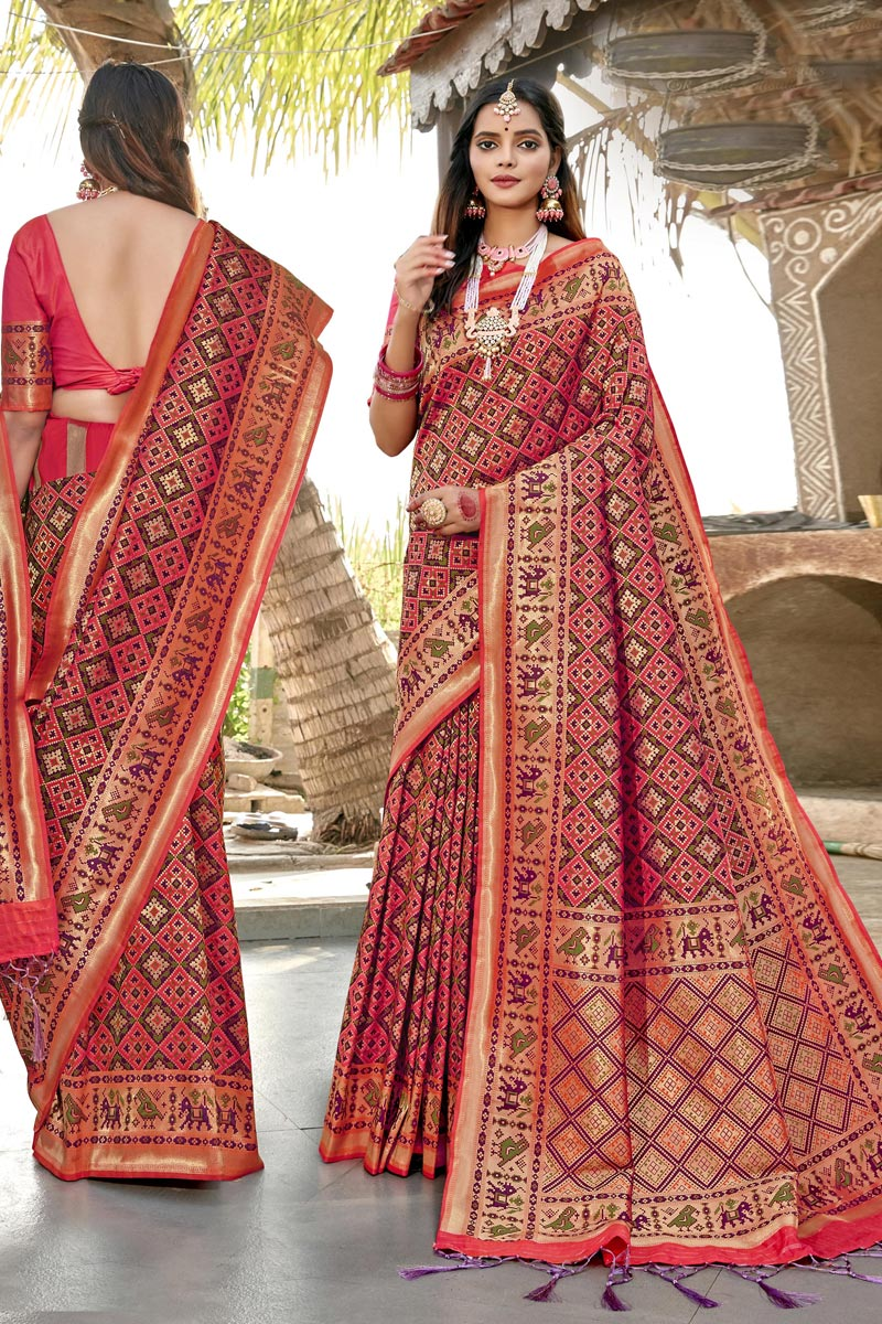 Banarasi Silk Fabric Peach Color Trendy Wedding Wear Patola Style Saree