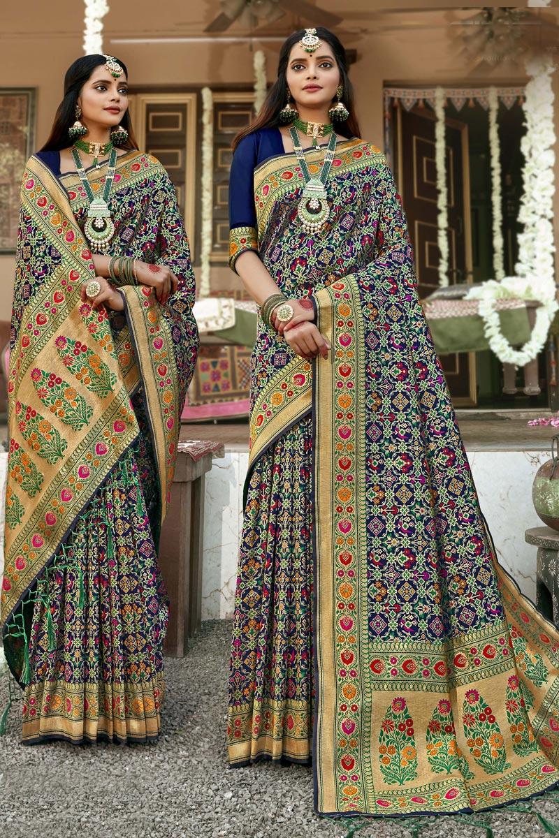 Designer Navy Blue Color Banarasi Silk Fabric Reception Wear Patola Style Saree