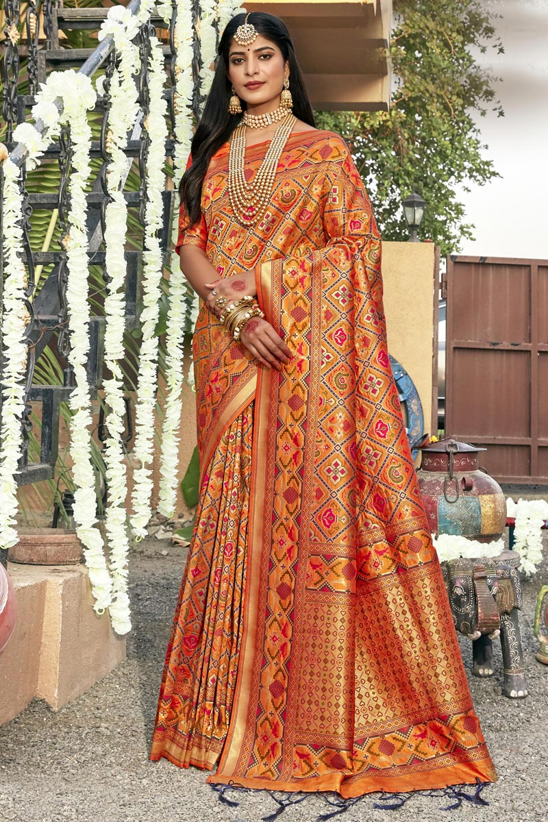 Orange Color Banarasi Silk Fabric Fancy Sangeet Wear Patola Style Saree