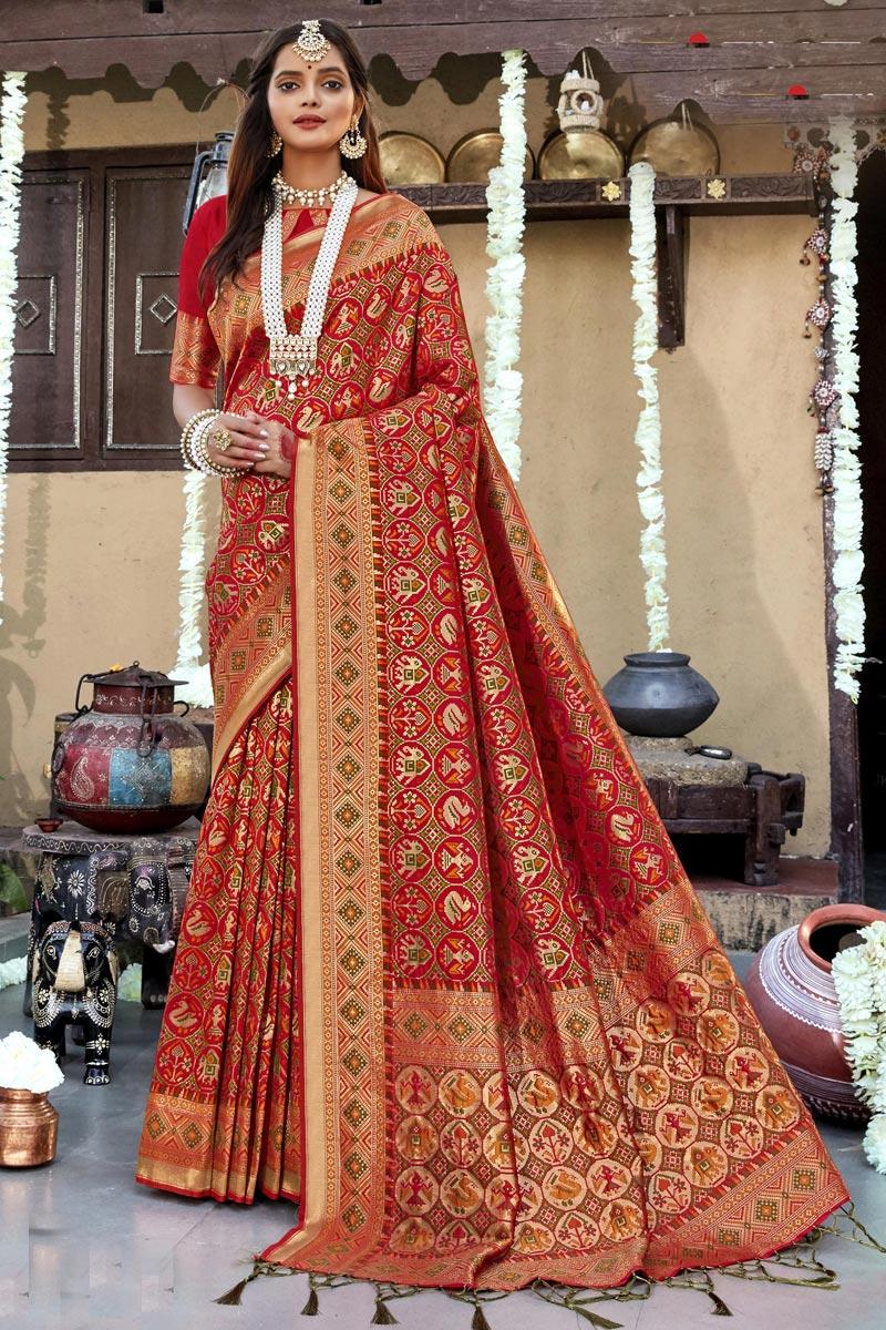 Banarasi Silk Fabric Red Color Stylish Wedding Wear Patola Style Saree