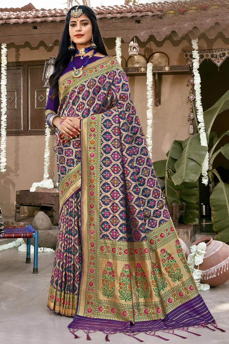 Trendy Purple Color Banarasi Silk Fabric Reception Wear Patola Style Saree