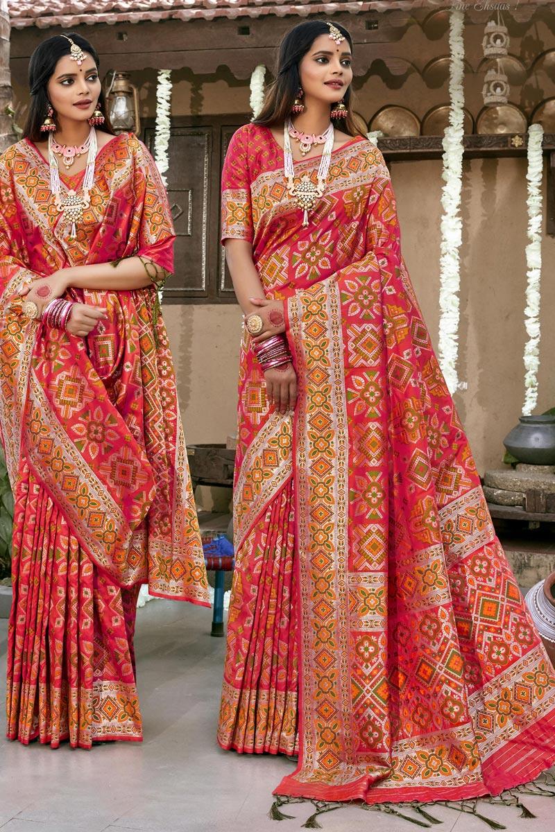 Sangeet Wear Pink Color Banarasi Silk Fabric Designer Patola Style Saree