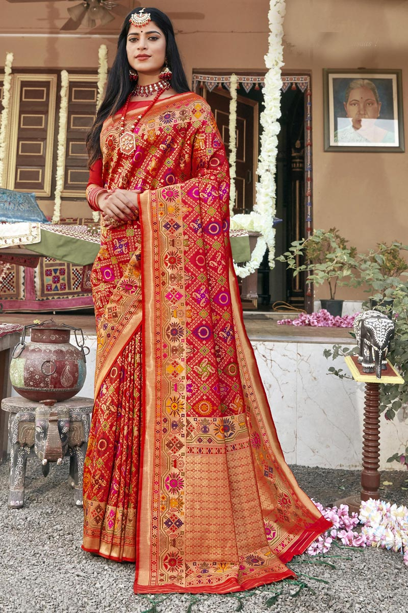 Banarasi Silk Fabric Fancy Wedding Wear Patola Style Saree In Red Color