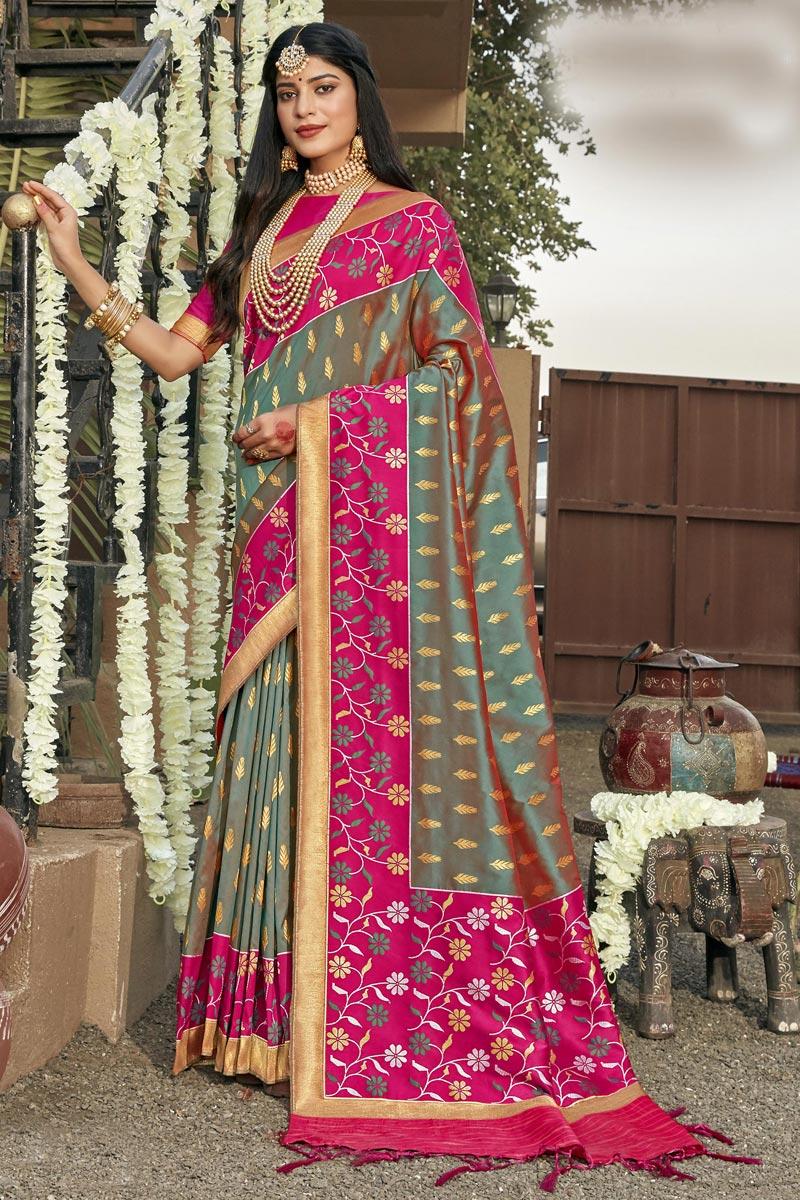 Light Cyan Color Stylish Reception Wear Patola Style Saree In Banarasi Silk Fabric