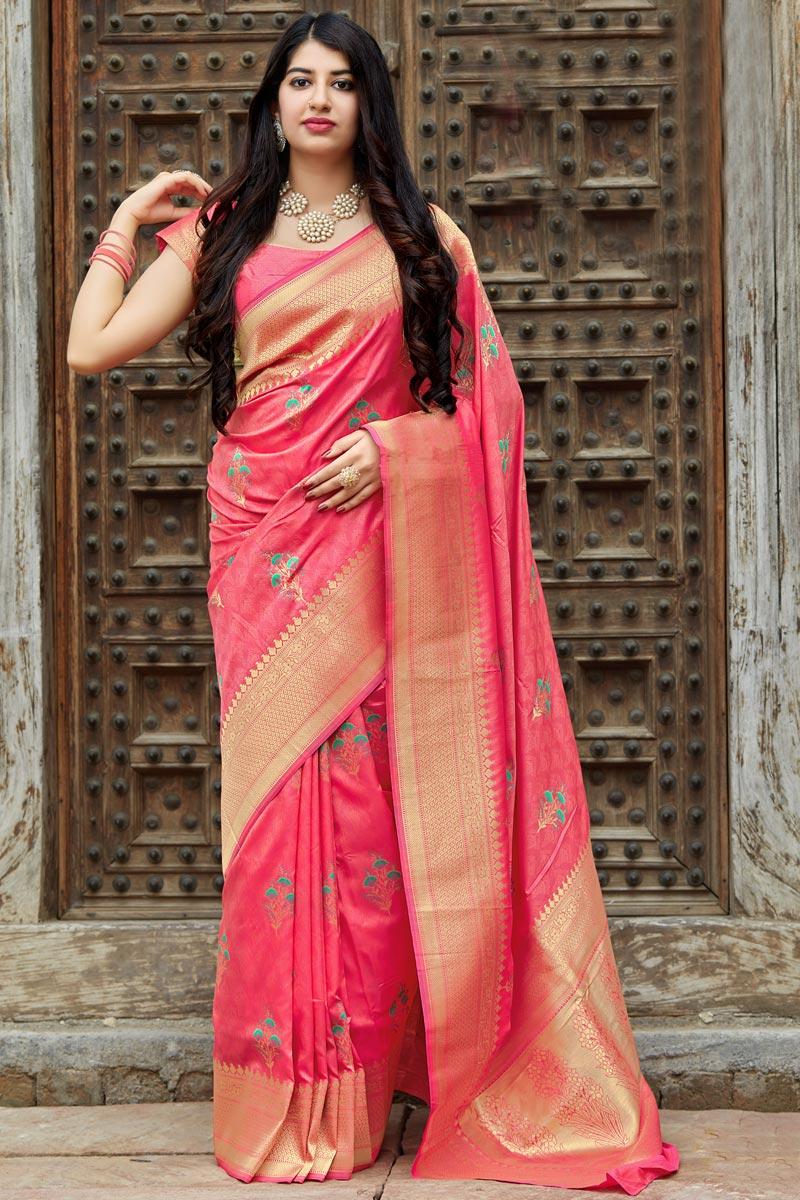 Pink Art Silk Traditional Wear Designer Weaving Work Saree