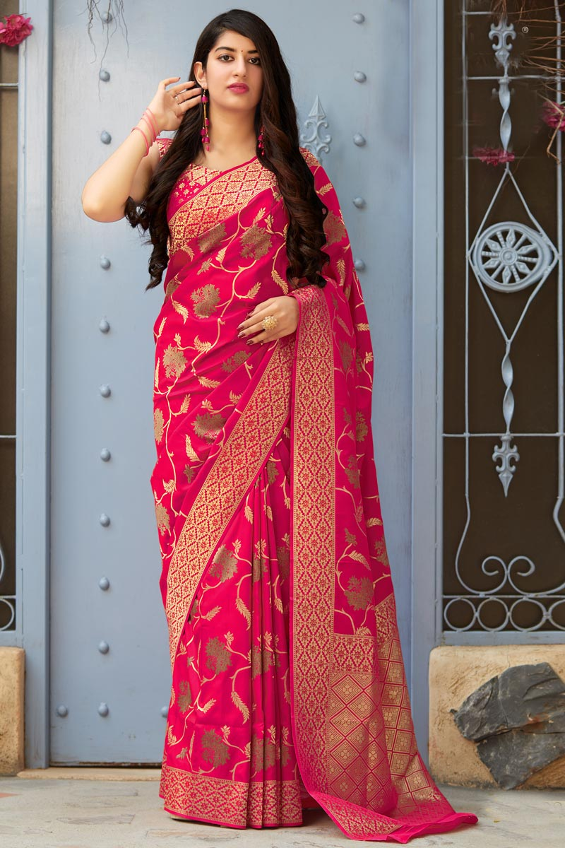 Traditional Wear Art Silk Designer Weaving Work Saree In Rani Color