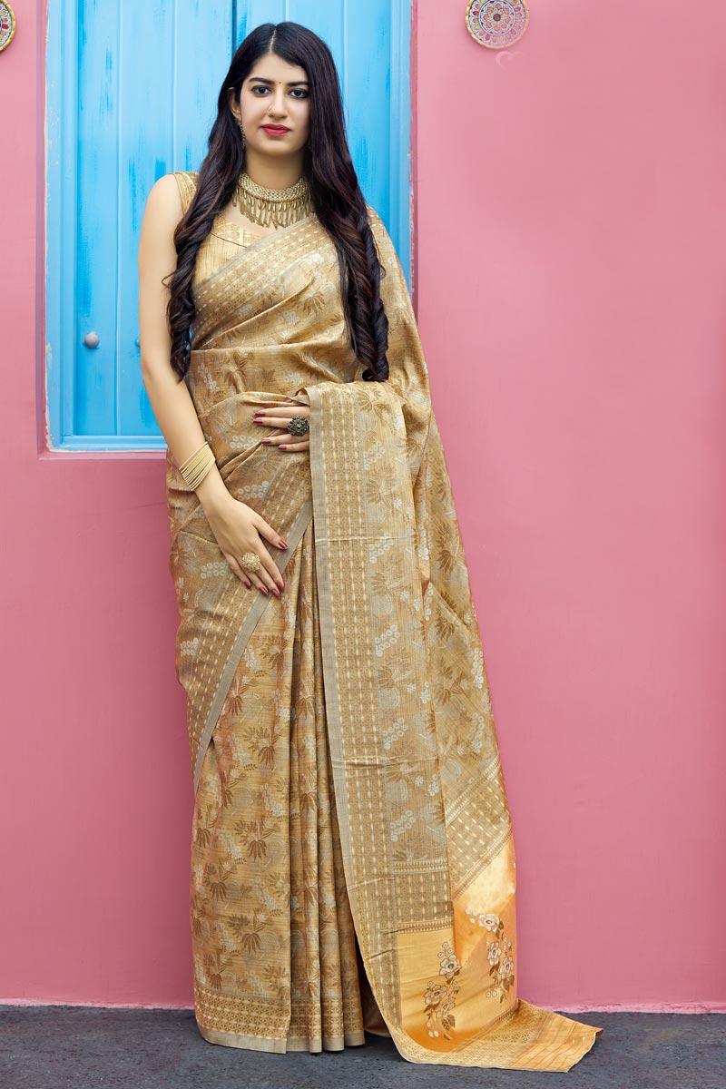 Art Silk Traditional Wear Designer Weaving Work Beige Saree