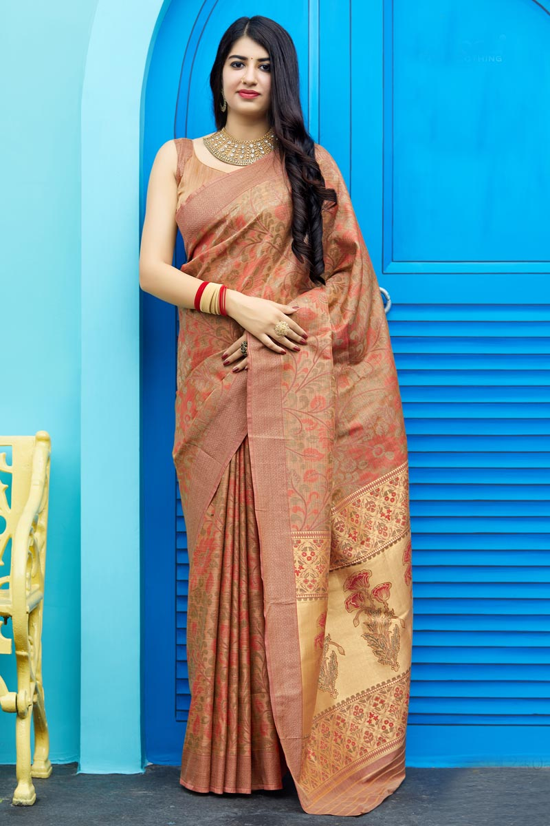 Traditional Wear Art Silk Designer Chikoo Color Weaving Work Saree
